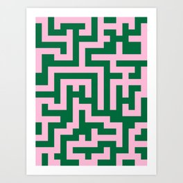 Cotton Candy Pink and Cadmium Green Labyrinth Art Print