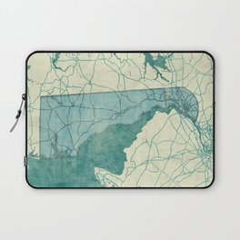 Delaware State Map Blue Vintage Laptop Sleeve