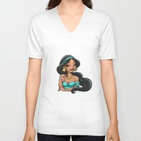 jasmine V-neck T-shirts featuring Jasmine by Genevieve Kay