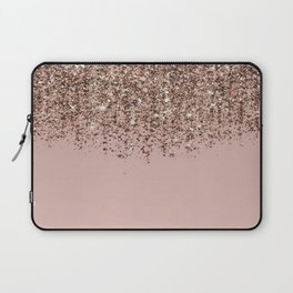 Blush Pink Rose Gold Bronze Cascading Glitter Laptop Sleeve
