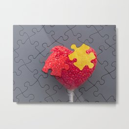 Raspberry Heart Puzzle Metal Print