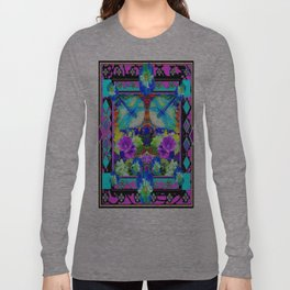 Baby Blue Dragonflies & Pansy Purple Abstract Long Sleeve T-shirt