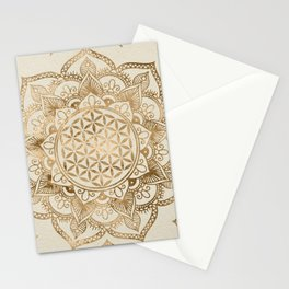 Flower of Life in Lotus - pastel golds and canvas Stationery Cards
