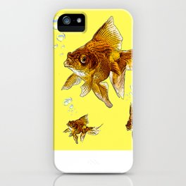 PRIZE WINNING BLACK-GOLDFISH YELLOW ART iPhone Case