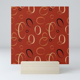 Terracotta Rustic Earth Tones Circle Pattern Mini Art Print