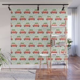 Vintage Christmas trees on car roof blue Wall Mural