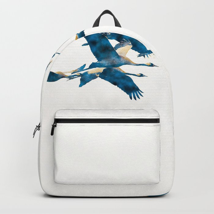 Beautiful Cranes in white background Backpack