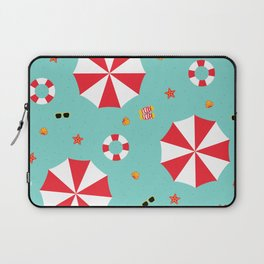 Cartoon Tropical Beach Destination Vacation Red and White Parasol Laptop Sleeve