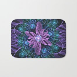 Bejeweled Butterfly Lily of Ultra-Violet Turquoise Bath Mat