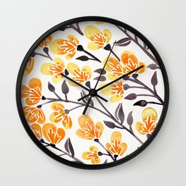 Cherry Blossoms – Yellow Palette Wall Clock
