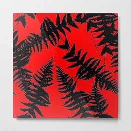 Chinese Red Oriental Style Black Ferns Metal Print