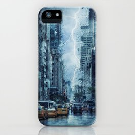 Cityscape Downtown Scene with Lightning and Rain iPhone Case