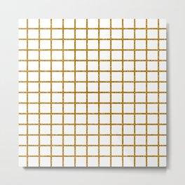 Gold Glitter Checked Pattern Metal Print