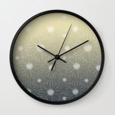 White Daisy Flowers Ombre Wall Clock