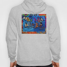 Bee who you bee inspirational quote denim fabric collage Hoody