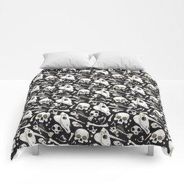 black Skulls and Bones - Wunderkammer Comforters