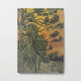 Vincent Van Gogh - Pine Trees with Setting Sun Metal Print