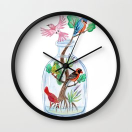 Birds in a Bottle Watercolor Painting Wall Clock