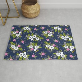 26 Floral pattern. White flowers and dark blue background. Rug