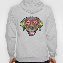 Labrador Retriever - Chocolate Lab - Day of the Dead Sugar Skull Dog Hoody
