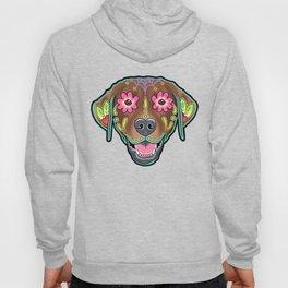 Labrador Retriever - Chocolate Lab - Day of the Dead Sugar Skull Dog Hoody