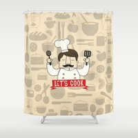 cook Shower Curtains featuring Let's Cook! by Lalaine Lim