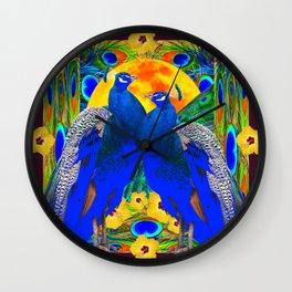 BURGUNDY  TROPICAL YELLOW HIBISCUS & BLUE PEACOCKS Wall Clock