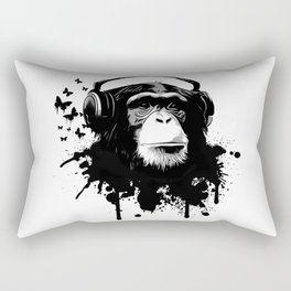 Monkey Business - White Rectangular Pillow