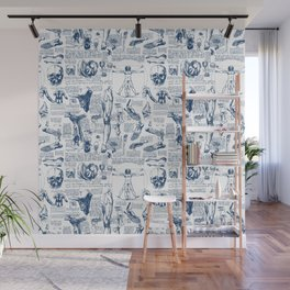 Da Vinci's Anatomy Sketchbook // Dark Blue Wall Mural