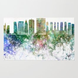 Sao Paulo V2 skyline in watercolor background Rug