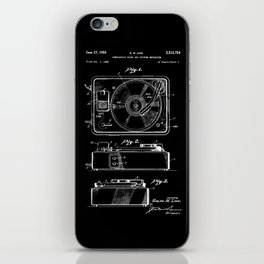 Turntable Patent - White on Black iPhone Skin