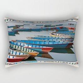 COLORFUL CANOES ALONG PHEWA LAKE SHORELINE POKHARA NEPAL 2 Rectangular Pillow