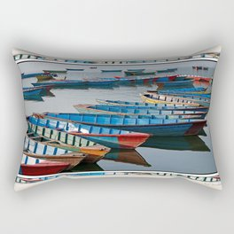 COLORFUL CANOES ALONG PHEWA LAKE SHORELINE POKHARA NEPAL 2 Rectangular Pillow