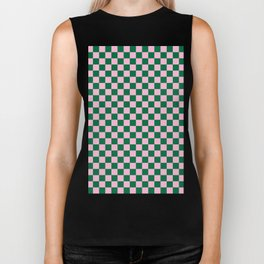 Cotton Candy Pink and Cadmium Green Checkerboard Biker Tank