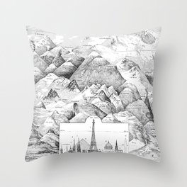 Mountains and Monuments Throw Pillow