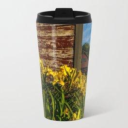 Yellow Flowers - Red Barn Travel Mug