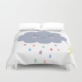 happy little rain cloud Duvet Cover