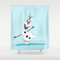 olaf Shower Curtains featuring Olaf Frozen cartoon snowmen by Neven Zubak