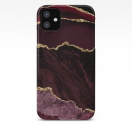 Burgundy Geode & Gold Glitter iPhone Case