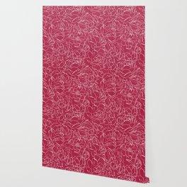 Modern fuchsia white hand drawn peonies floral Wallpaper