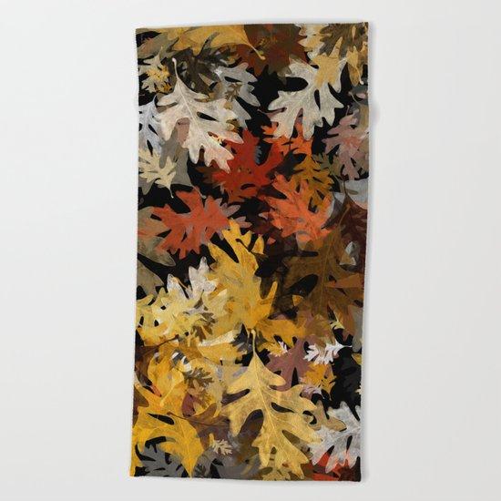 Oak Leaf Abstract Beach Towel