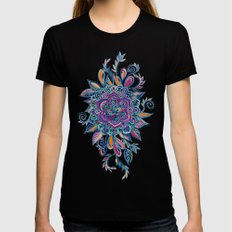 Deep Summer - Watercolor Floral Medallion Black MEDIUM Womens Fitted Tee