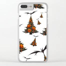 Halloween Christmas Trees Pattern - White Clear iPhone Case
