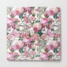 Vintage & Shabby Chic -Pink Parrots And Flowers  Metal Print