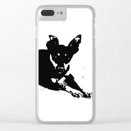Pretinha - Dog B&W Clear iPhone Case