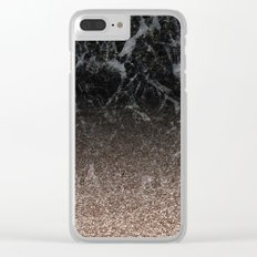 Glitter ombre - black marble & rose gold glitter Clear iPhone Case