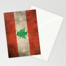 Old and Worn Distressed Vintage Flag of Lebanon Stationery Cards
