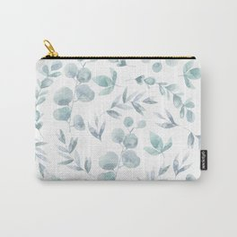 floral pattern (teal leaves) Carry-All Pouch