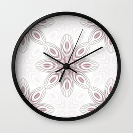 Feathers, Geometric Pattern in Mauve and Grey Wall Clock