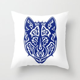 Dire Wolf - Blue Throw Pillow